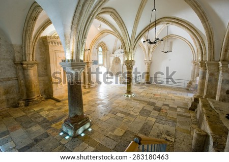 JERUSALEM, ISRAEL - 09 OCT, 2014: 'The last supper room' on mount Zion is the place where Jesus Christ shared his last supper with his disciples - stock photo