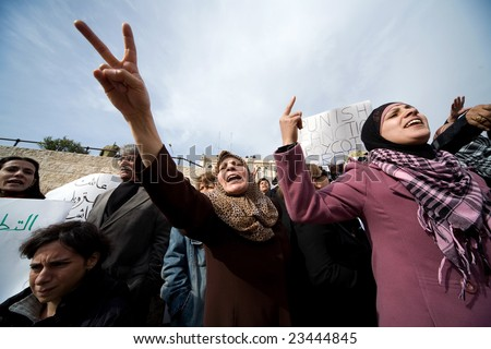 Jerusalem - JANUARY 16: Demonstration against war in Gaza strip on January 16, 2009 at Old City, Jerusalem, Israel. - stock photo