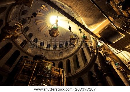 JERUSALEM - June 19: Greek Chapel of the Church of Holy Sepulchre in Jerusalem, Israel June 19, 2015. - stock photo