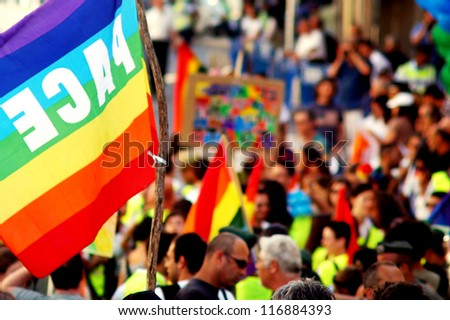 JERUSALEM - JUNE 21:Israeli Gays march along King David road on June 21, 2007 in Jerusalem, Israel.Israel is one of the world's progressive countries in equality for sexual minorities. - stock photo