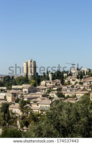 Jerusalem Neighborhood - Yemin Moshe - stock photo
