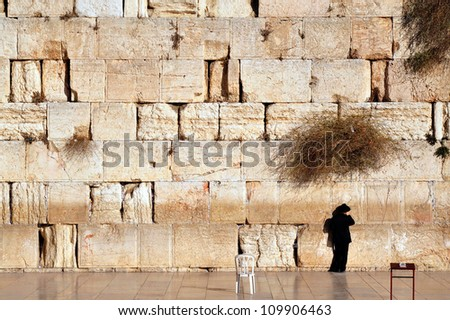 JERUSALEM - NOVEMBER 12:Jewish man is praying at the western wall on November 12 2008 in Jerusalem, Israel.It is the most sacred site recognized by the Judaism outside of the Temple Mount itself. - stock photo