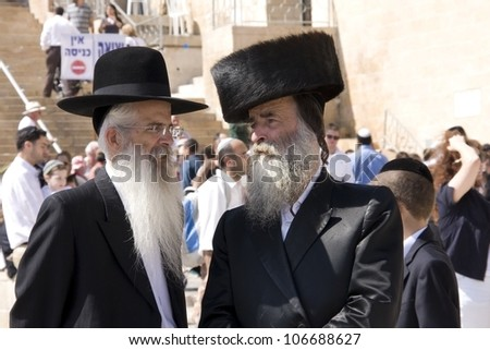 JERUSALEM - OCT 16 : Ultra Orthodox mans during  of Sukkot October 16, 2011 in Jerusalem, Israel - stock photo