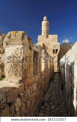Jerusalem old city. Passage on the city wall and KIng David citadel. - stock photo