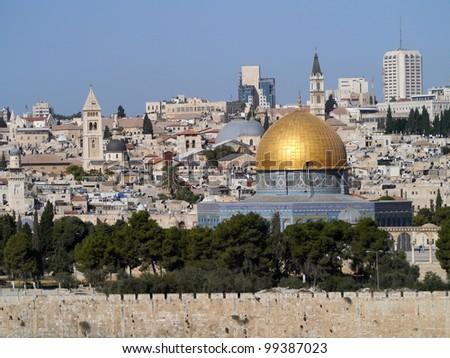 Jerusalem Old City Skyline - stock photo