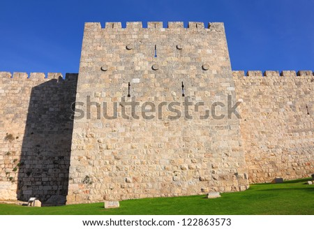 Jerusalem Old City Wall - stock photo