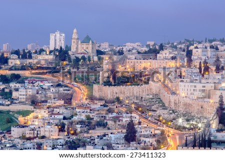 Jerusalem - Outlook from Mount of Olives to Dormition abbey and south part of town walls in morning dusk. - stock photo