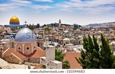 Jerusalem panoramic roof view to christians, jewish and muslims sacred places - stock photo