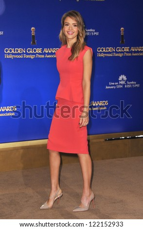 Jessica Alba announces the nominations for the 70th Annual Golden Globe Awards at the Beverly Hilton Hotel. December 13, 2012  Beverly Hills, CA Picture: Paul Smith - stock photo
