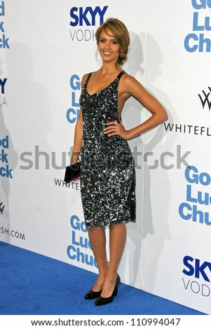 """Jessica Alba at the Los Angeles Premiere of """"Good Luck Chuck"""". Mann National Theater, Westwood, CA. 09-19-07 - stock photo"""
