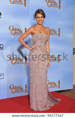 Jessica Alba at the 69th Golden Globe Awards at the Beverly Hilton Hotel. January 15, 2012  Beverly Hills, CA Picture: Paul Smith / Featureflash - stock photo