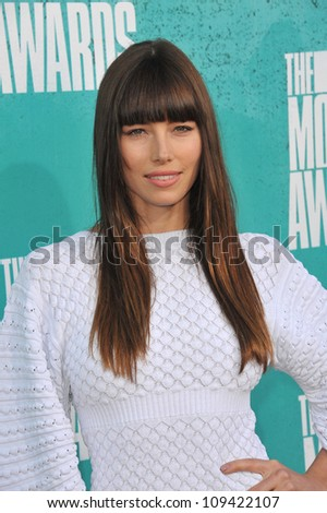 Jessica Biel at the 2012 MTV Movie Awards at Universal Studios, Hollywood. June 4, 2012  Los Angeles, CA Picture: Paul Smith / Featureflash - stock photo