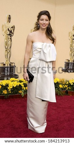 Jessica Biel, wearing a Prada gown, at 81st Annual Academy Awards - ARRIVALS, Kodak Theatre, Los Angeles, CA 2/22/2009  - stock photo