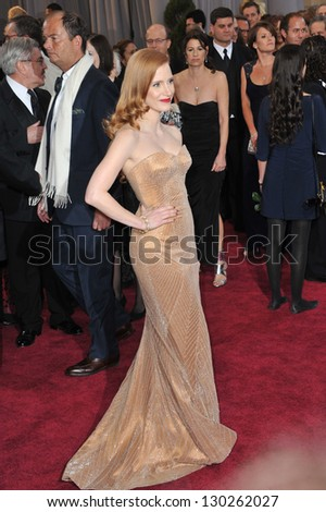 Jessica Chastain at the 85th Academy Awards at the Dolby Theatre, Hollywood. February 24, 2013  Los Angeles, CA Picture: Paul Smith - stock photo