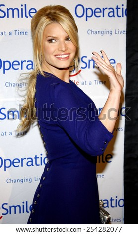 Jessica Simpson attends the Operation Smile 25th Anniversary Gala held at the Beverly Hilton in Beverly Hills, California, United States on October 5, 2007.  - stock photo