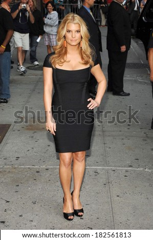 Jessica Simpson, in a Herve Leger dress, at talk show appearance for The Late Show with David Letterman, Ed Sullivan Theater, New York, September 11, 2008 - stock photo
