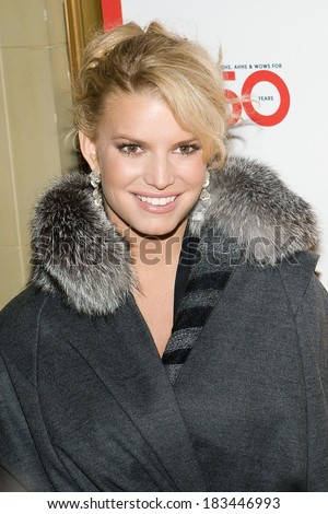 Jessica Simpson , wearing a Luca Luca cape and Kara Ross earrings, at MACY's 150th Anniversary Gala, Gotham Hall, New York, NY, October 28, 2008  - stock photo