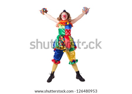 jester jumping - stock photo