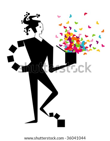 Jester with surprise box - stock photo