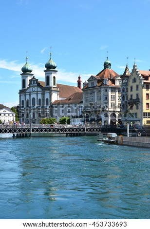 Jesuit church in Luzern, Switzerland - stock photo