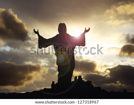 jesus arms raised - stock photo