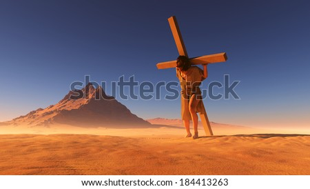 Jesus carries the cross in the desert. - stock photo