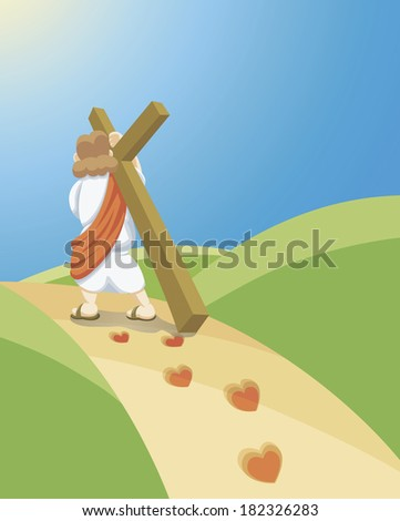 Jesus carrying a cross on his back - stock photo