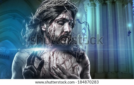 Jesus Christ calvary, man bleeding, representation of passion with crown of thorns - stock photo