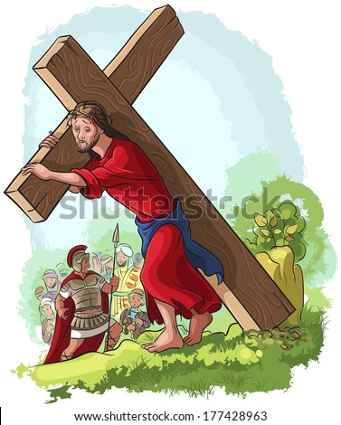 Jesus Christ carrying cross. Raster version. Also available vector illustration in gallery - stock photo
