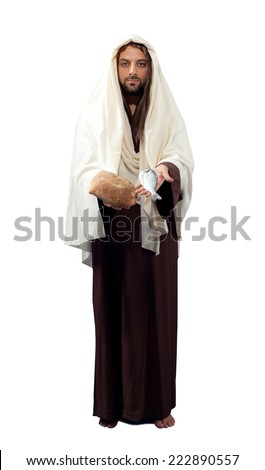 Jesus Christ full length on white background. - stock photo