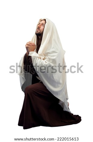 Jesus Christ full lengthin knee  on white background. - stock photo