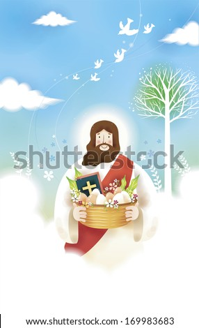 Jesus Christ holding a basket of food and the Bible. - stock photo