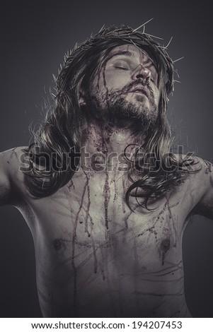 jesus christ, jesus of nazareth, representation of Calvary - stock photo