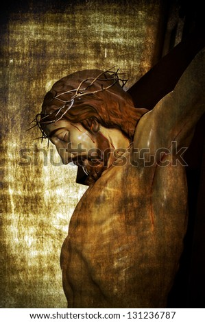 Jesus Christ on the Holy Cross on a vintage background - stock photo