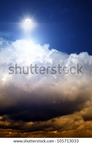 Jesus Christ over dark sky on white clouds - stock photo