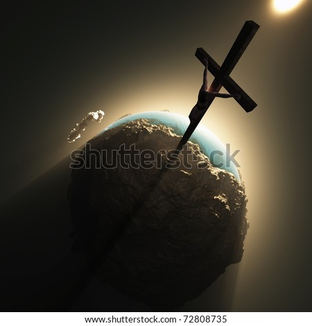 jesus crucifix above world - stock photo