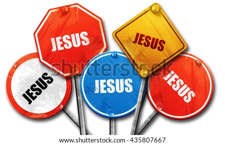 jesus, 3D rendering, rough street sign collection - stock photo