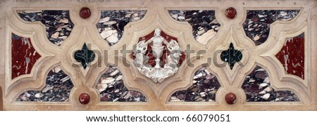 Jesus, detail of the medieval church altar - stock photo
