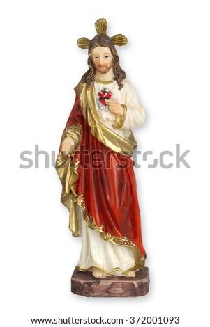 Jesus figurine isolated on white background - stock photo