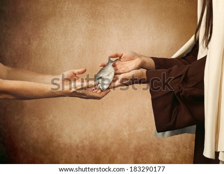 Jesus gives the fish to a beggar on beige background - stock photo