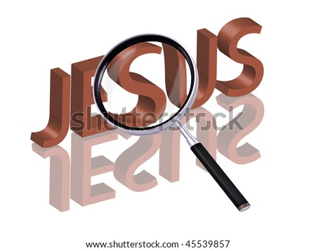 jesus icon jesus button find jesus search jesus salvation belief christ Magnifying glass enlarging part of red 3D word with reflection - stock photo
