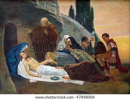 Jesus is laid in the tomb and covered in incense - stock photo