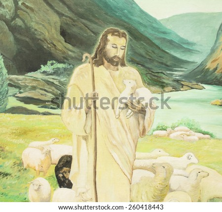 Jesus is the shepherd, oil painting - stock photo