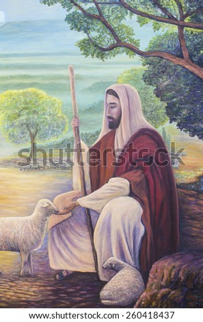 Jesus is the shepherd, original oil painting, zoom in - stock photo