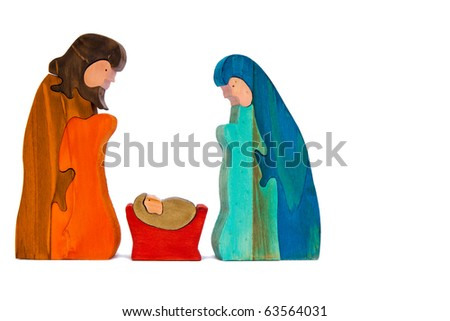 Jesus Mary and Joseph in stained wood isolated on white - stock photo