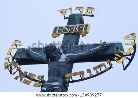 Jesus on cross, Charles Bridge, Pague, Czech Republic - stock photo
