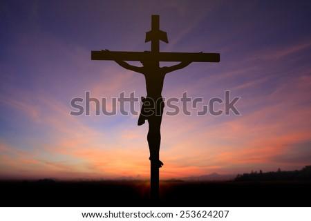 Jesus on the cross blur background - stock photo