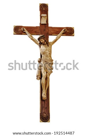 Jesus on the cross isolated on white - stock photo