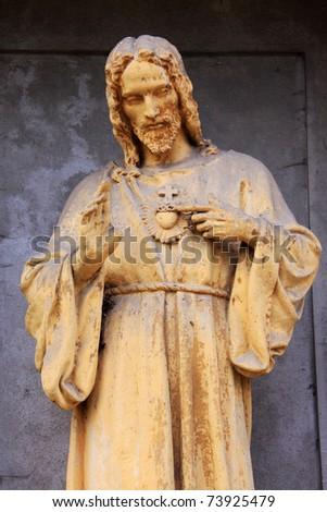 Jesus on the old Prague Cemetery, Czech Republic - stock photo