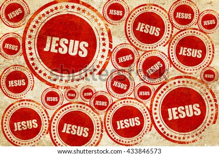 jesus, red stamp on a grunge paper texture - stock photo